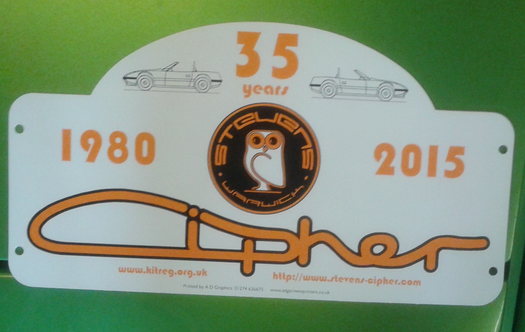 Cipher cars 35 year rally plate